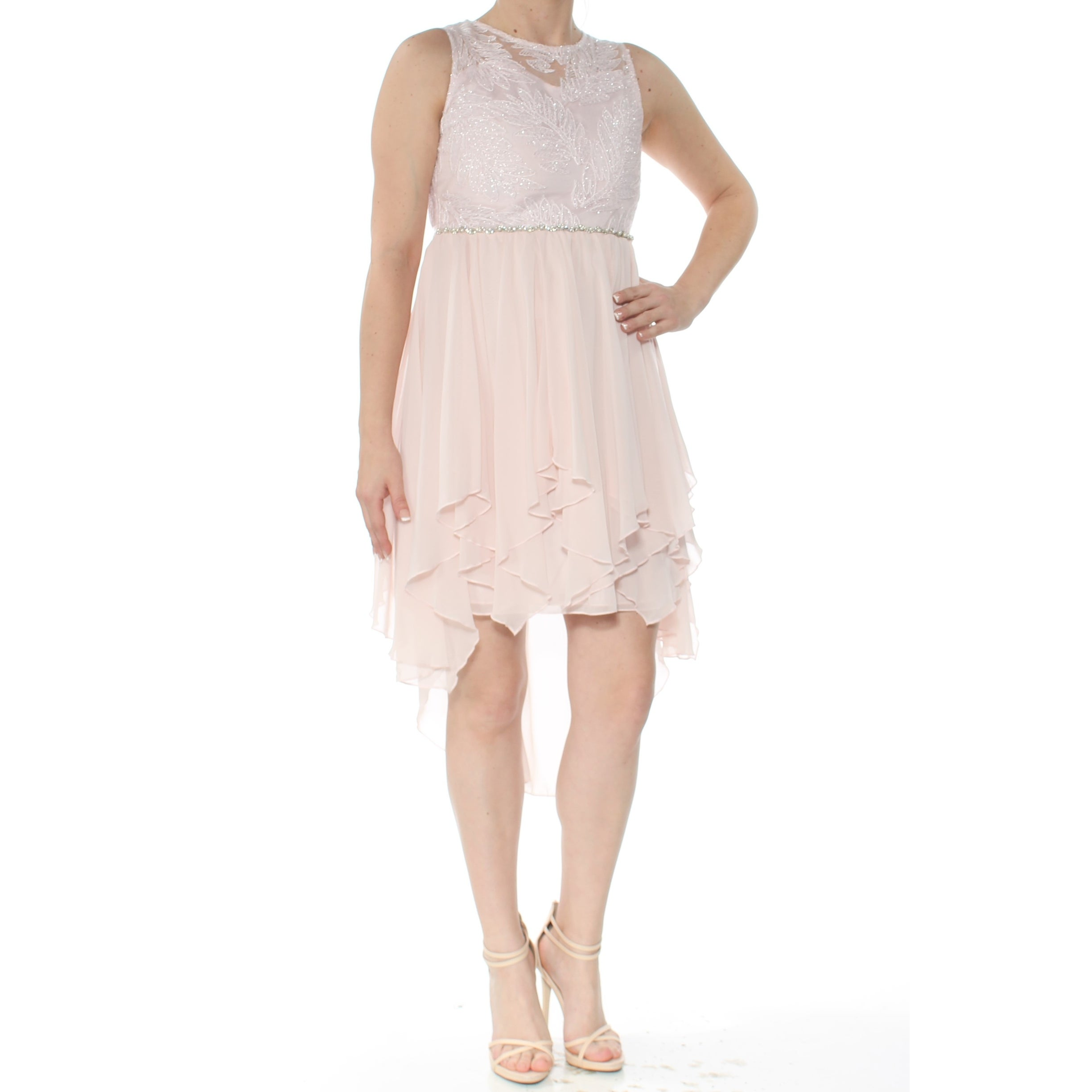 8888192603097 Shop RARE EDITIONS Womens Pink Sequined Embroidered Sleeveless Jewel Neck  Above The Knee Party Dress Size: 12 - Free Shipping On Orders Over $45 -  Overstock ...