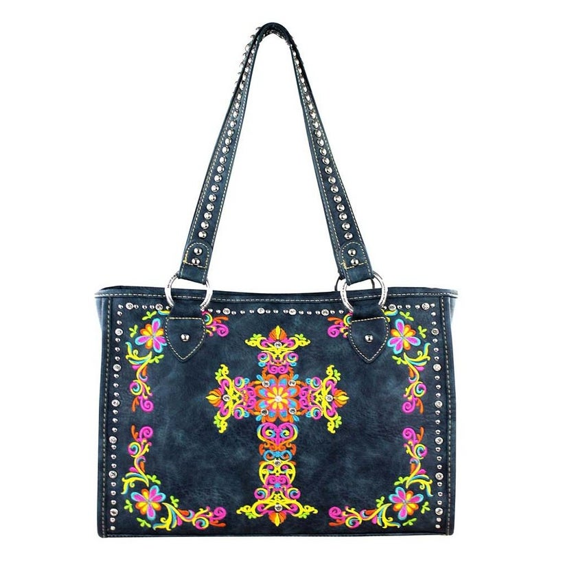 0bb048df6dc4 Montana West Colorful Embroidered Floral Cross Tote Bag