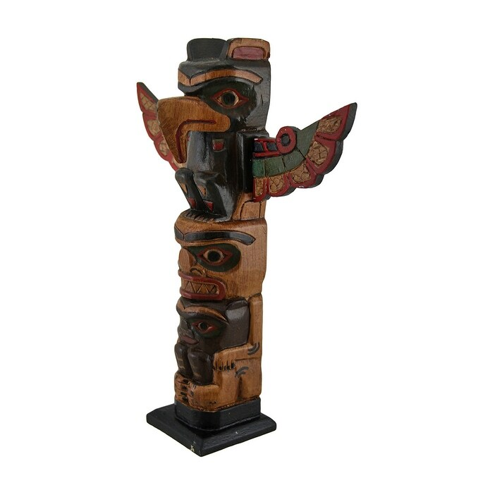 Hand Crafted Wooden Thunderbird Spirit Totem Pole 12 Inch
