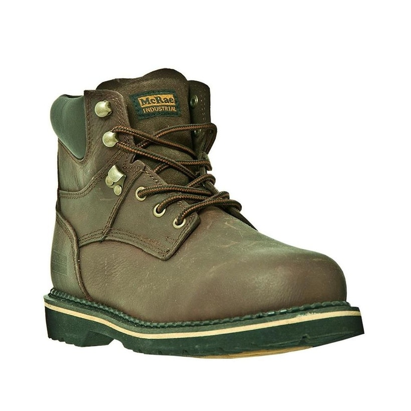 15f88022942 McRae Industrial Work Boots Mens Steel Toe Lace Leather Brown