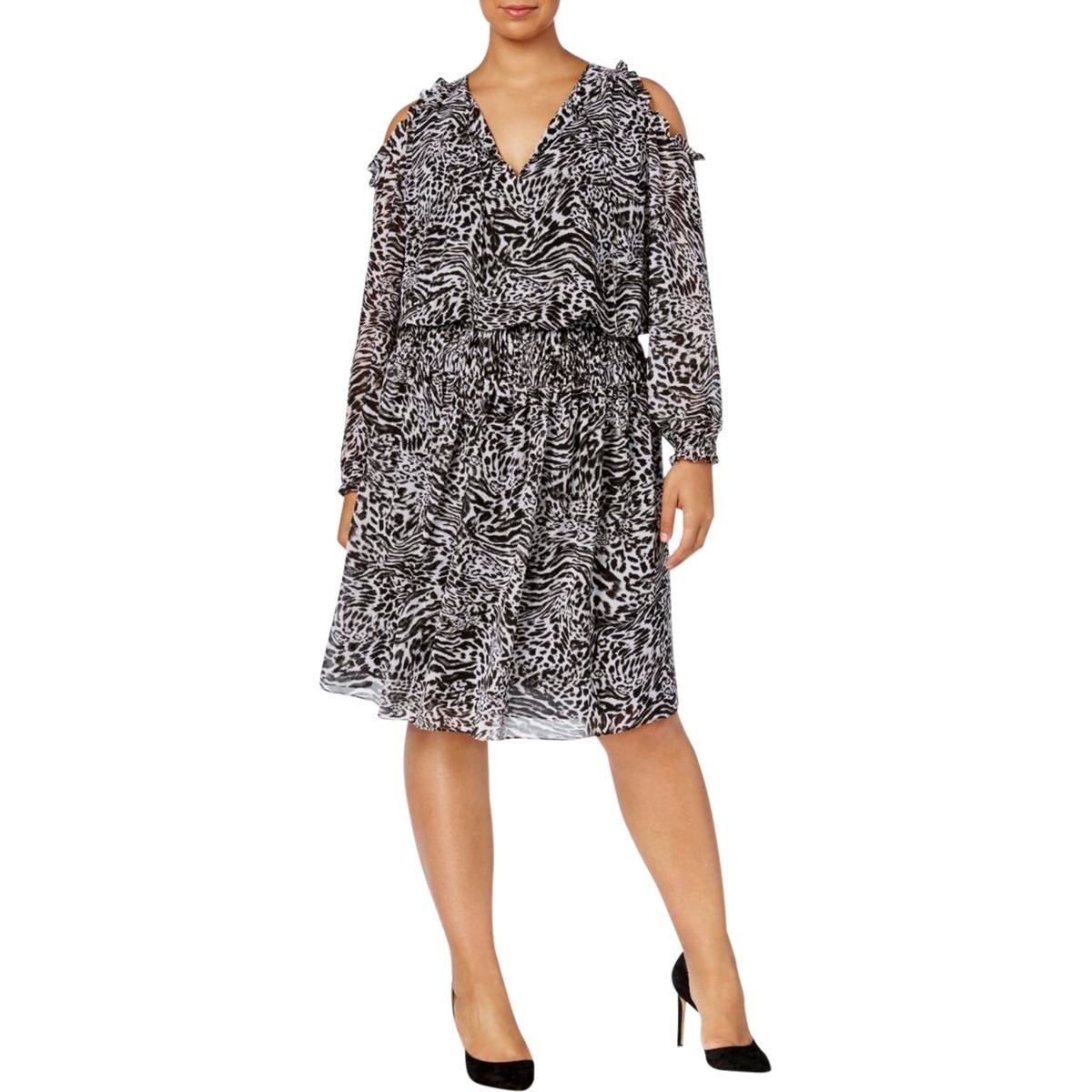 aa00034108 Shop MICHAEL Michael Kors Womens Plus Cocktail Dress Animal Print Cold  Shoulder - Free Shipping On Orders Over  45 - Overstock - 22832572