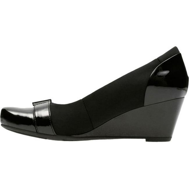 e402799ae3f Shop Clarks Women's Flores Poppy Wedge Black Textile/Synthetic Combination  - On Sale - Free Shipping Today - Overstock - 17428024