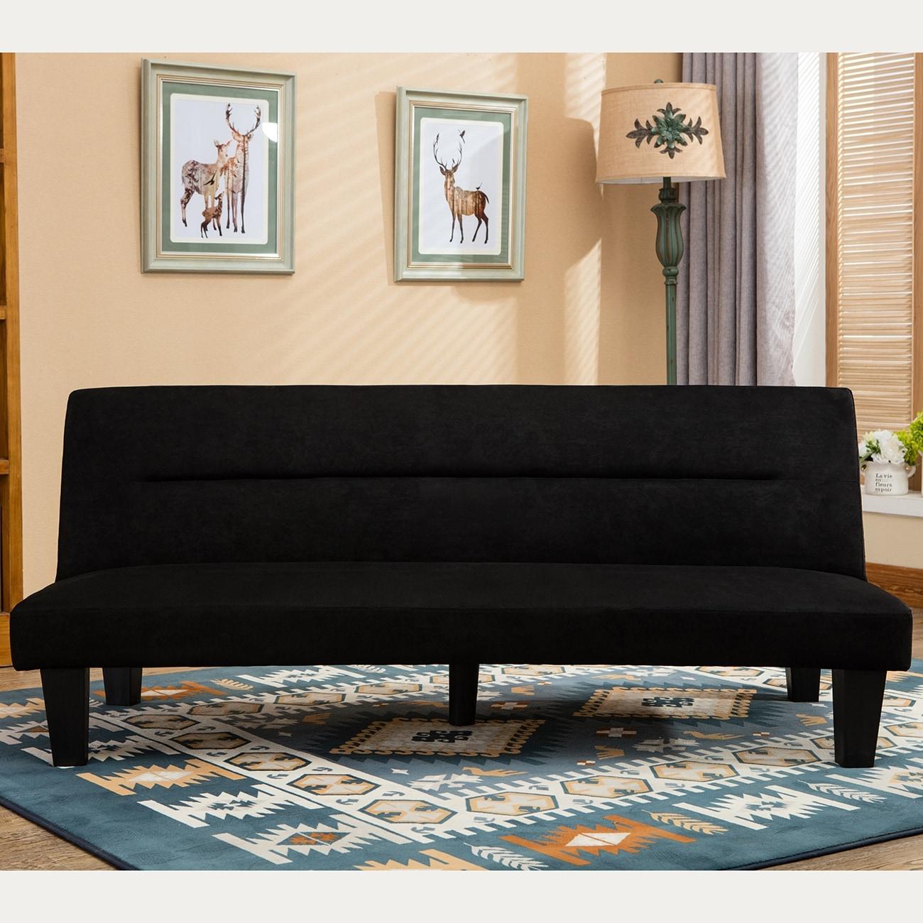 Belleze Premium Convertible Sofa Futon Microfiber Couch Bed Legs Multifunctional Adjule Black