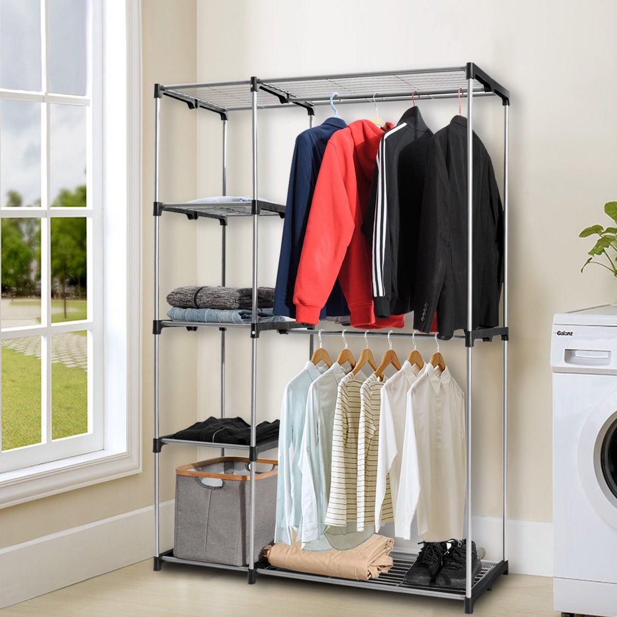 Gymax Closet Organizer Garment Rack Portable Clothes Hanger Storage Home Shelf As Pic