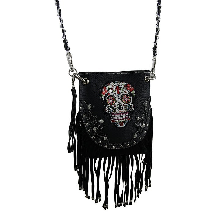 2f5317eb2a70 Shop Western Style Embellished Sugar Skull Stud Fringe Crossbody Purse - On  Sale - Free Shipping On Orders Over  45 - Overstock - 16756470