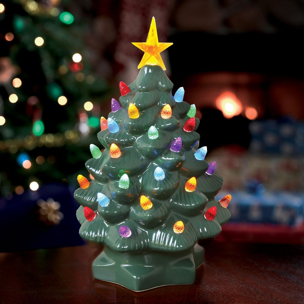 little green ceramic christmas tree night light with automatic light ...