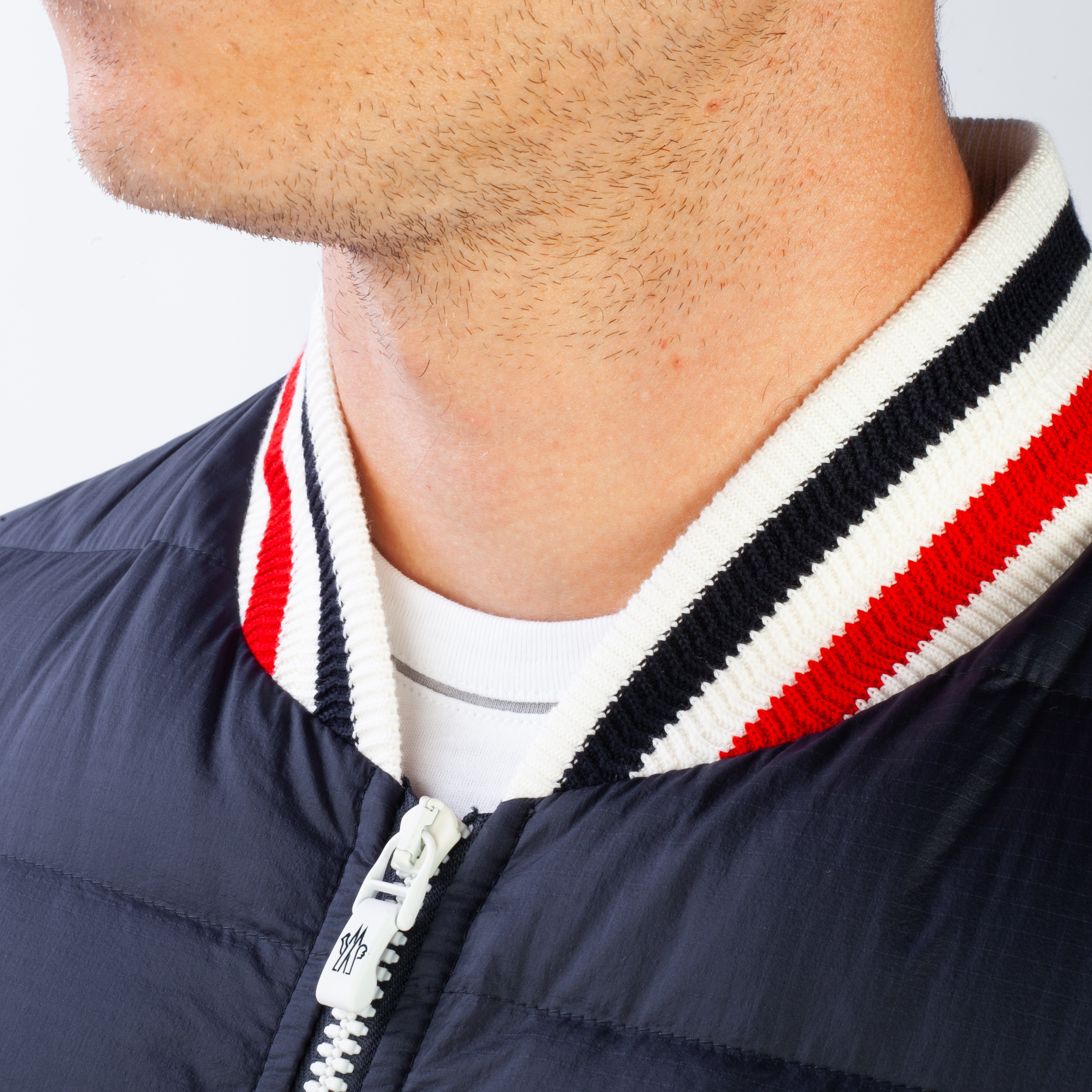 7bceb6ee7815 Shop Moncler Gamme Bleu Men s Down Varsity Jacket Navy Blue - Free ...