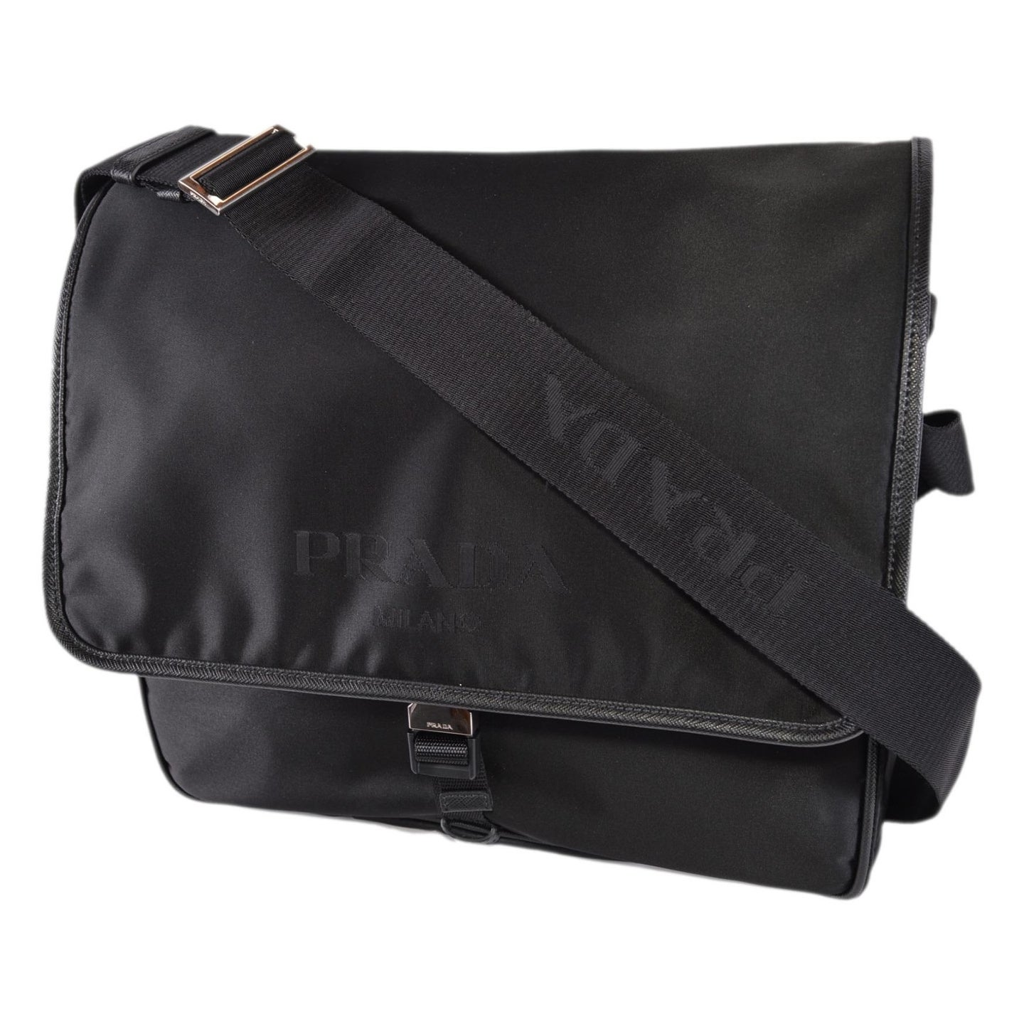 f8bfbd8c1d1a86 Prada Men's Black Nylon Leather Tracolla 2VD166 Messenger Crossbody Bag