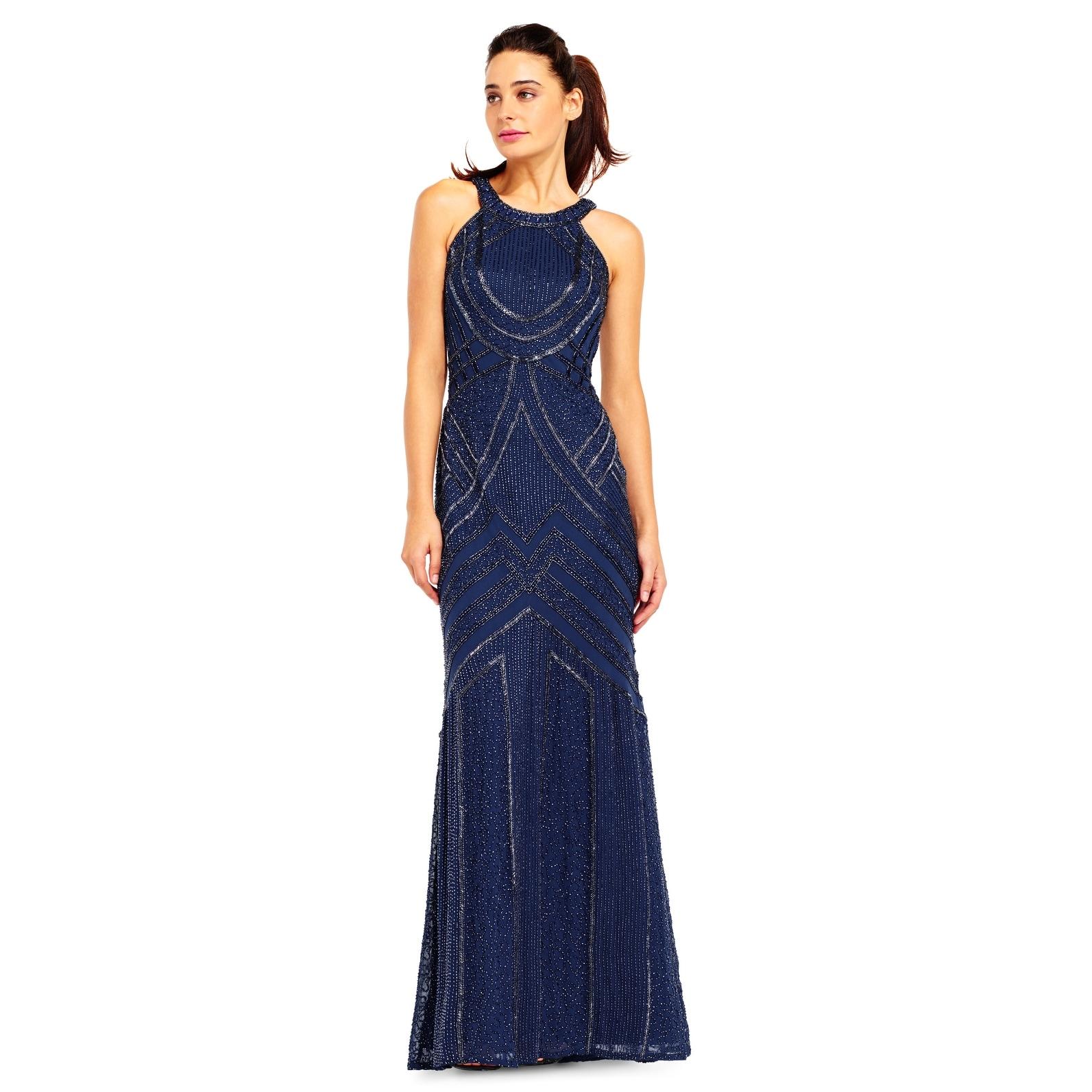 Adrianna Papell Beaded Halter Mermaid Dress with Sheer Back, Deep ...