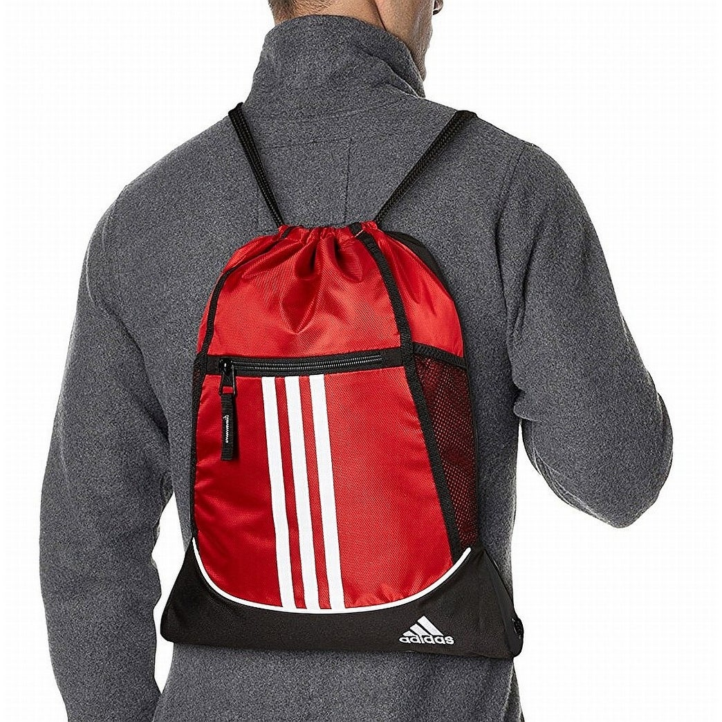 c7e6d410e3 Shop adidas Red Alliance II Sackpack Striped Men s Drawstring Backpack Bag  208 - Free Shipping On Orders Over  45 - Overstock - 22400853