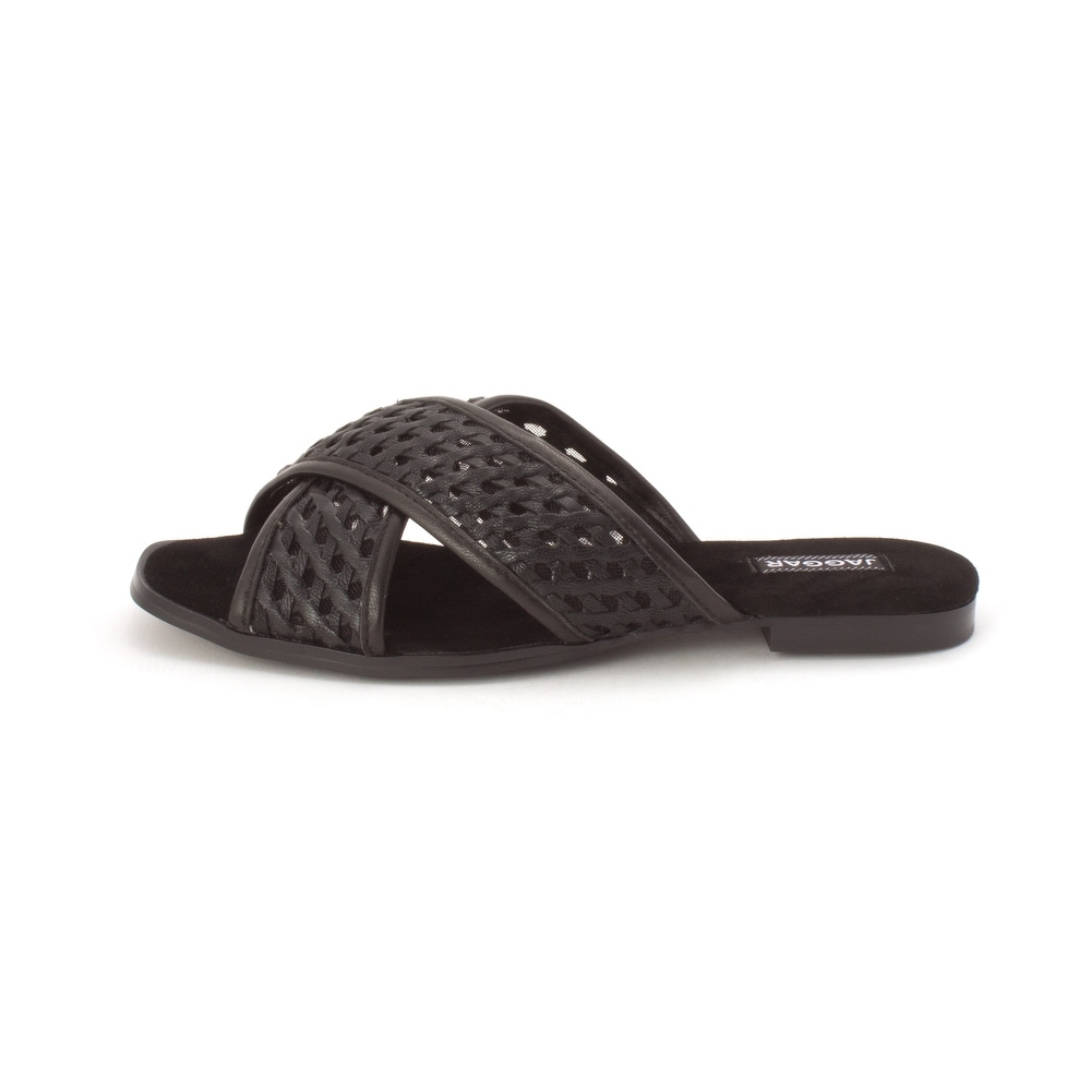 4f2a42939 Shop JAGGAR Womens Crossrd Flat Leather Open Toe Casual Slide Sandals -  Free Shipping Today - Overstock - 26262825