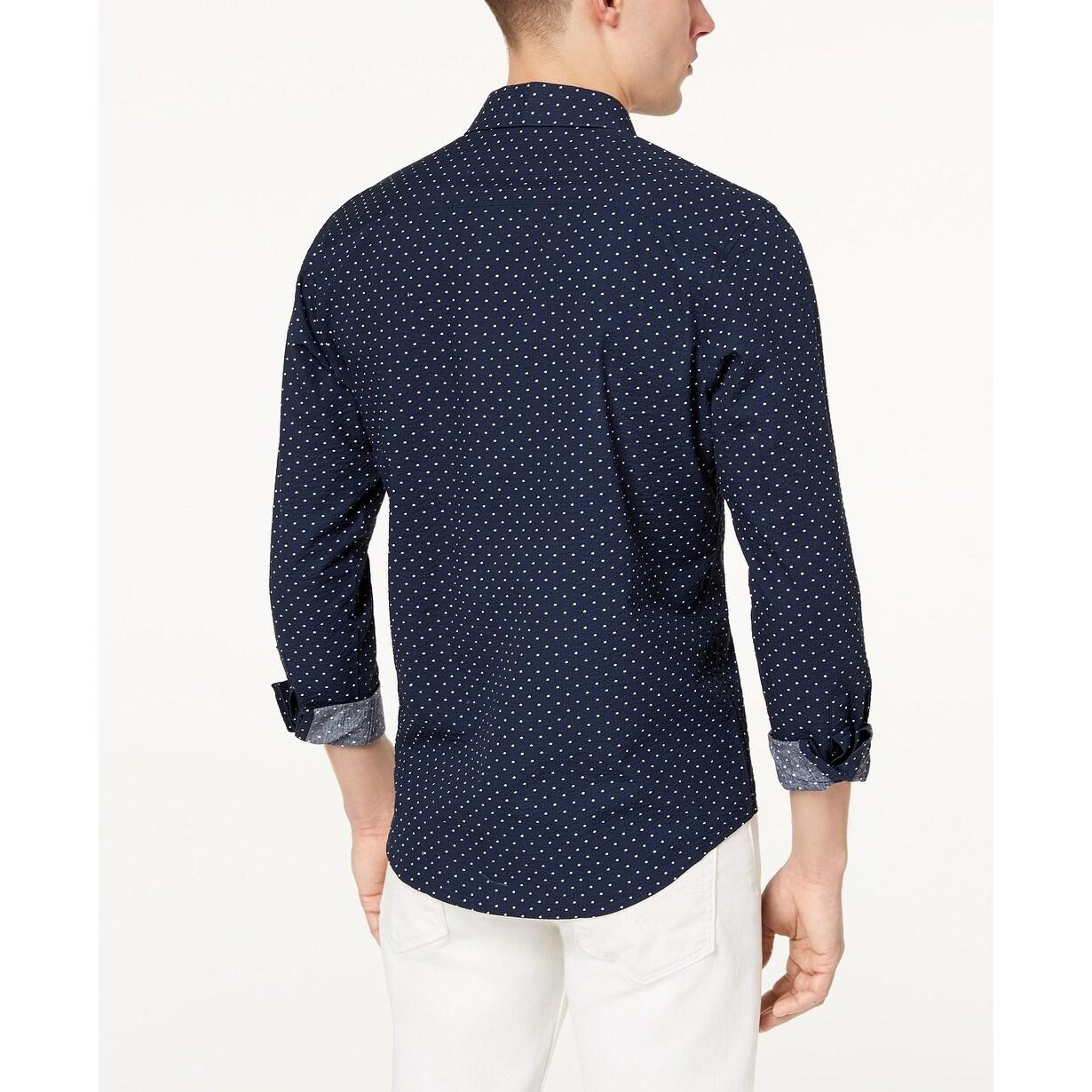 0f4e9dbb071 INC Navy Blue Mens Size Medium M Seersucker Button Down Shirt