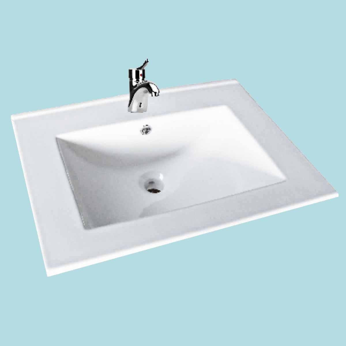 Shop Bathroom Drop-in Sink Square Self-Rimming White China ...