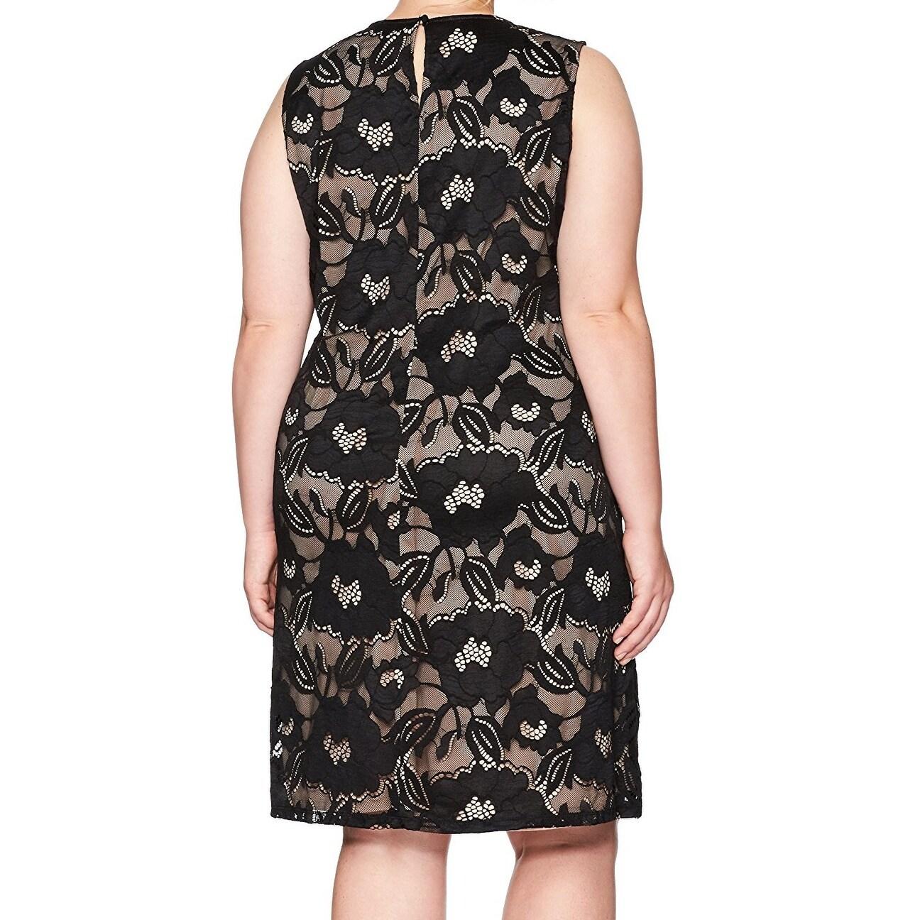 e1a1283cca18b Shop Nine West Black Nude Women s Size 14W Plus Lace Sheath Dress ...