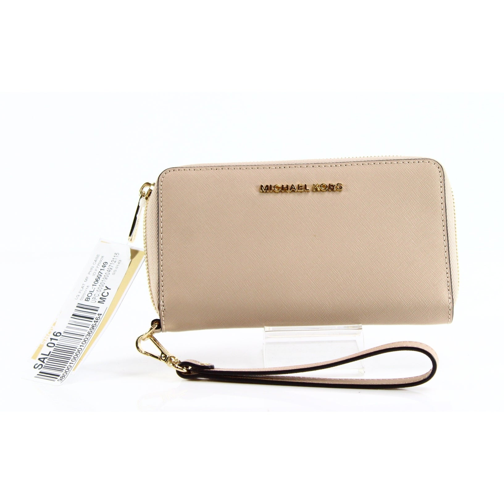29ef85571e8550 Shop Michael Kors NEW Beige Oyster Jet Set Travel Wristlet Leather Wallet -  Free Shipping Today - Overstock - 20764326