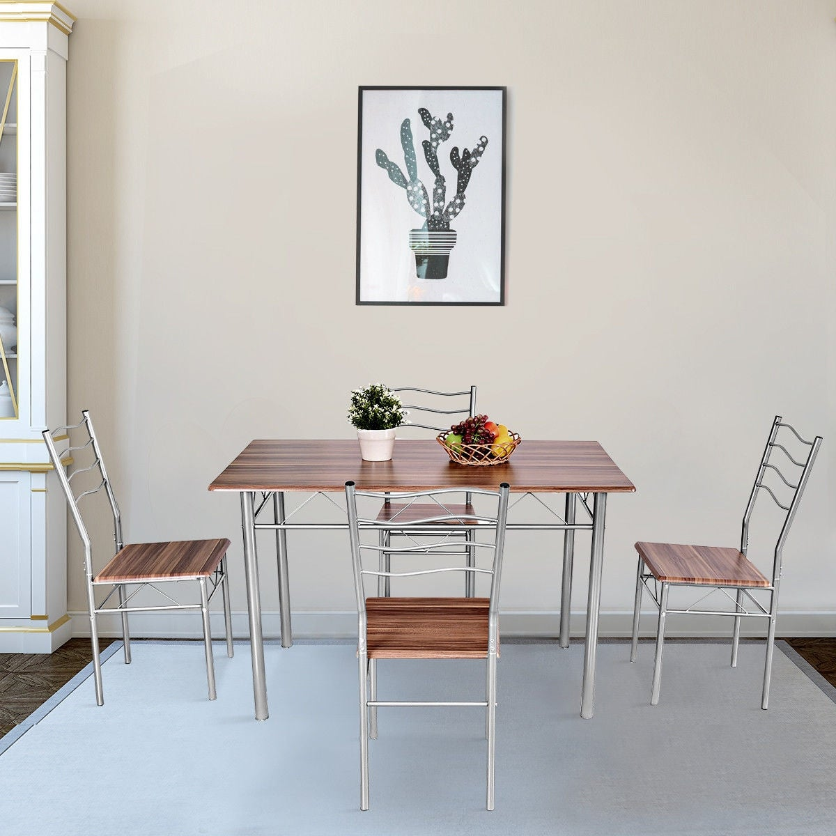 Costway 5 Piece Dining Table Set Wood Metal Kitchen Breakfast Furniture W 4 Chair Walnut As Pic Free Shipping Today 19626762