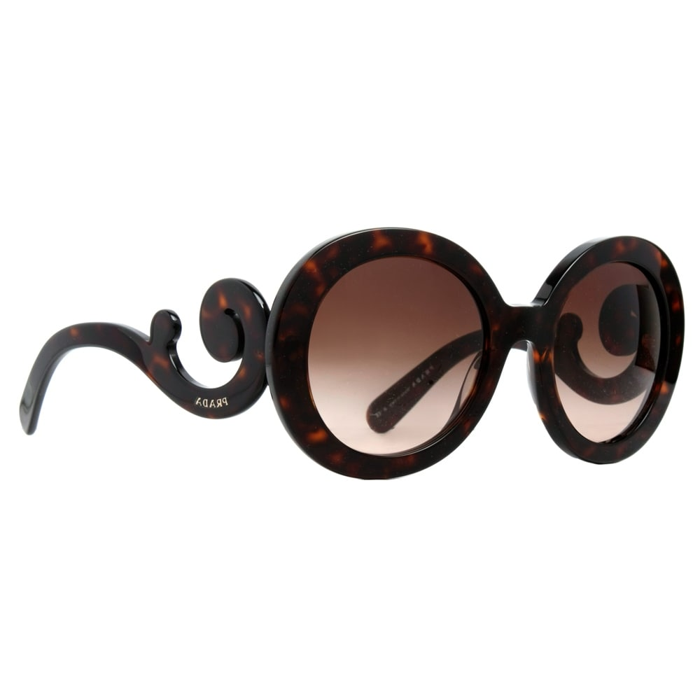 6a9509db08 coupon code for shop prada spr 27n 2au 6s1 brown havana baroque swirl  womens round sunglasses