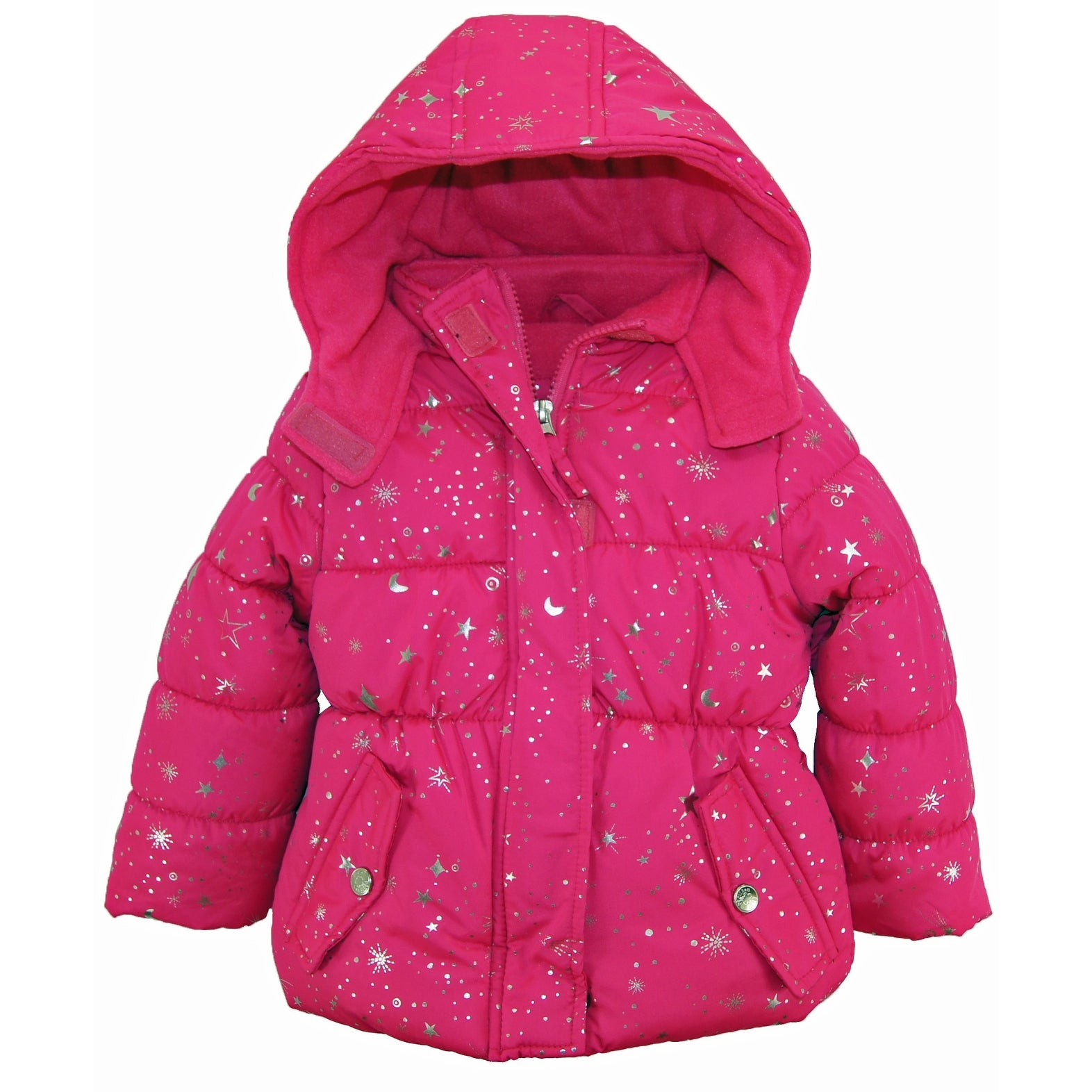 vest pink platinum star by girls pin foil puffer