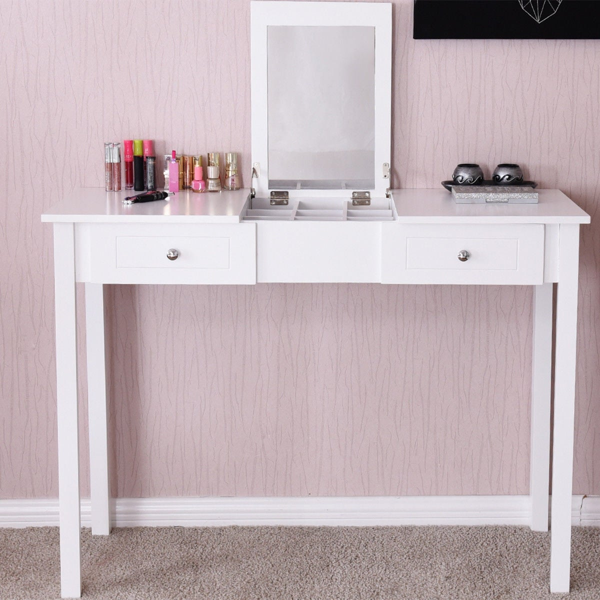 Costway Vanity Table Dressing Flip Top Desk Mirror 2 Drawers Furniture White On Free Shipping Today 19626757