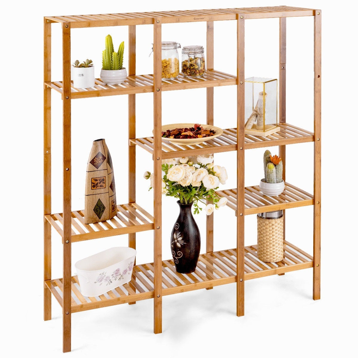 Shop Costway Multifunctional Bamboo Shelf Storage Organizer Rack Plant Stand Display Closet Bamboo Color On Sale Free Shipping Today Overstock Com