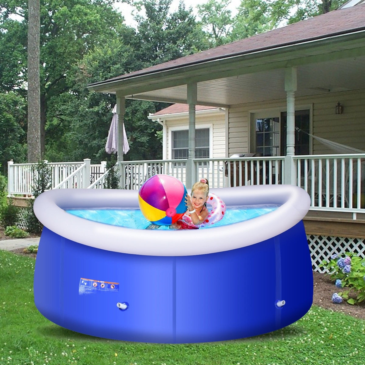 Shop Costway Giant Inflatable Above Ground Swimming Pool 8FT x ...