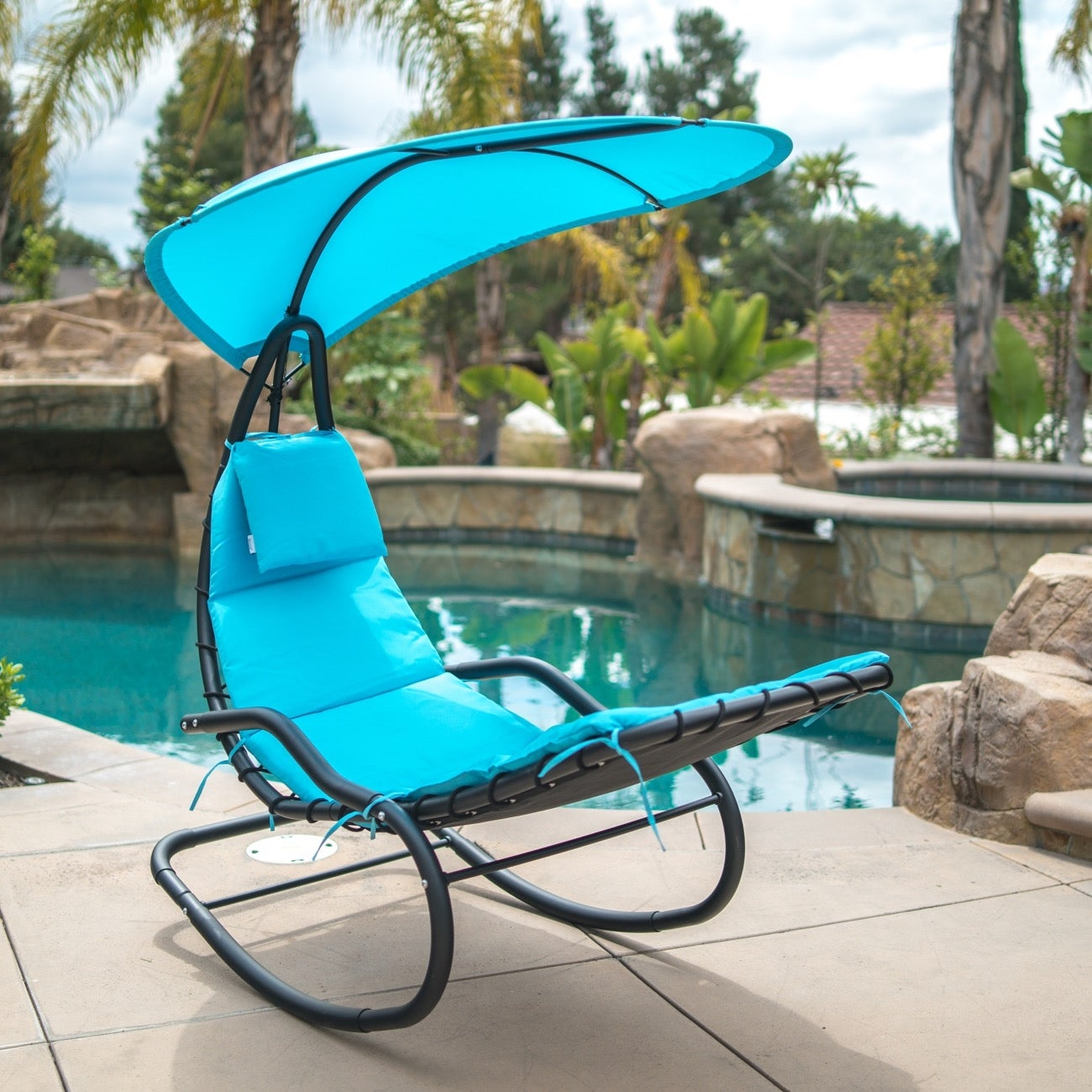 Shop BELLEZE Hanging Rocking Sunshade Canopy Chair Chaise Umbrella Lounge  Arc Patio Bungee Padded Cushions Outdoor   Free Shipping Today    Overstock.com   ...
