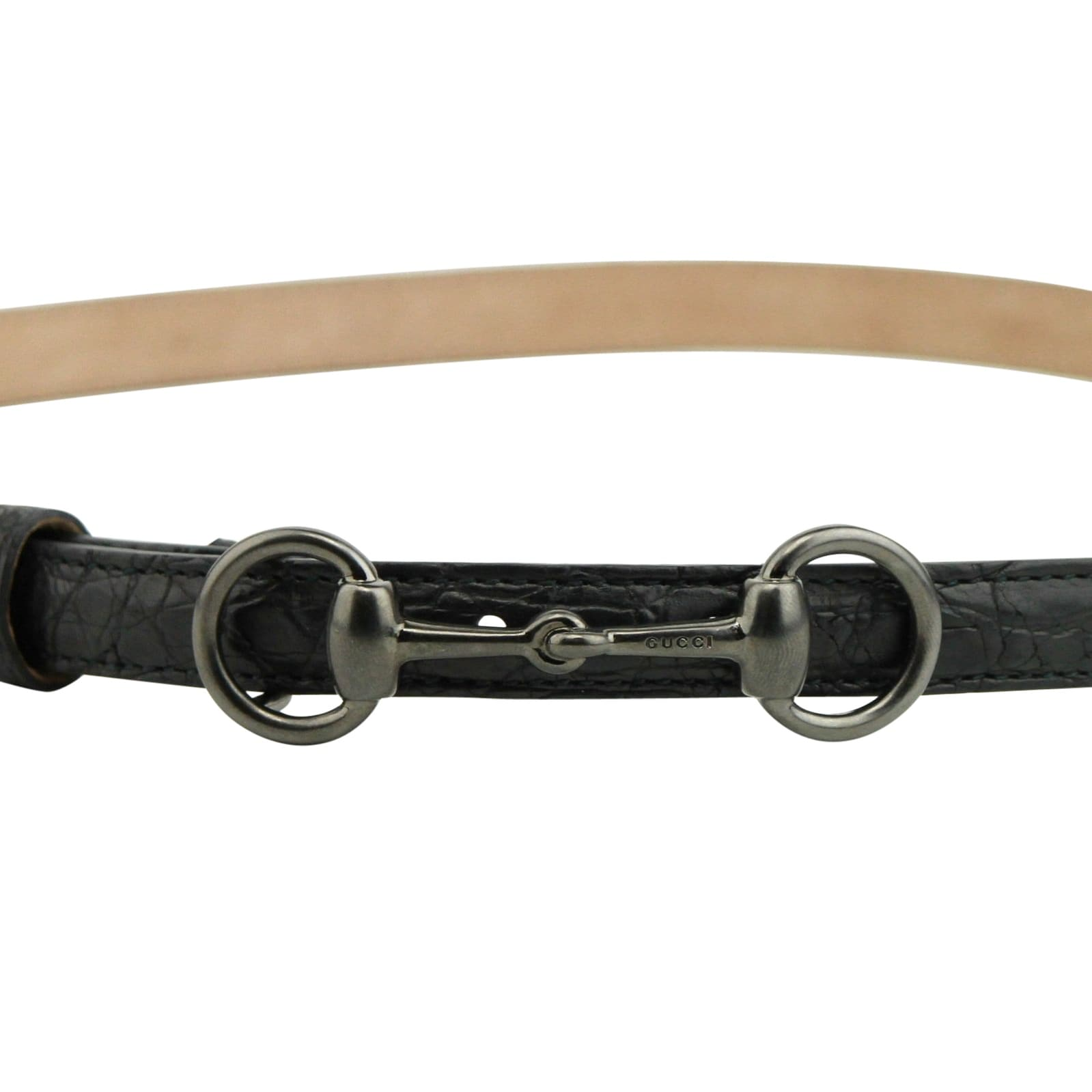 44ce79f35b4 Shop Gucci Women s Horsebit Buckle Black Leather Thin Skinny Belt 282349  1000 - 95   38 - Free Shipping Today - Overstock - 25978239