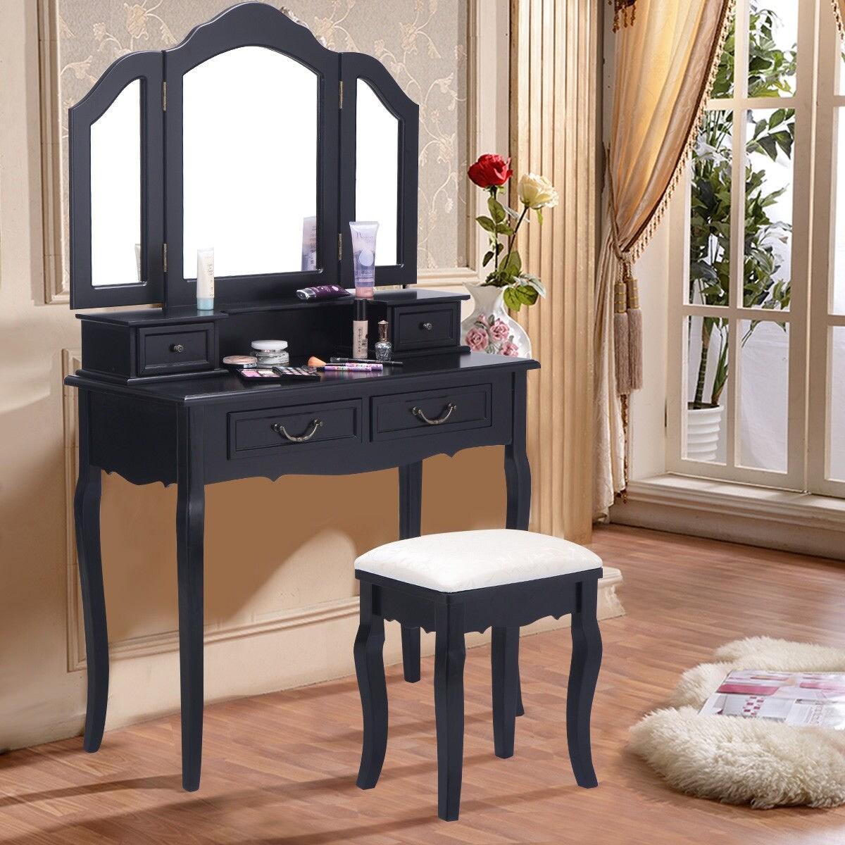 Shop Costway Tri Folding Mirror Bathroom Wood Vanity Set Makeup