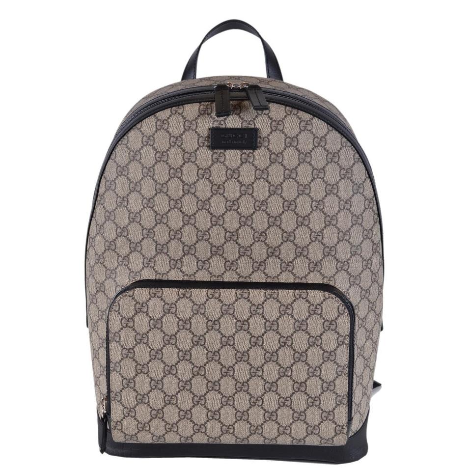 5ee4eeeb2 Gucci Beige Black GG Guccissima Supreme Canvas Backpack Rucksack Bag -  Beige/Brown