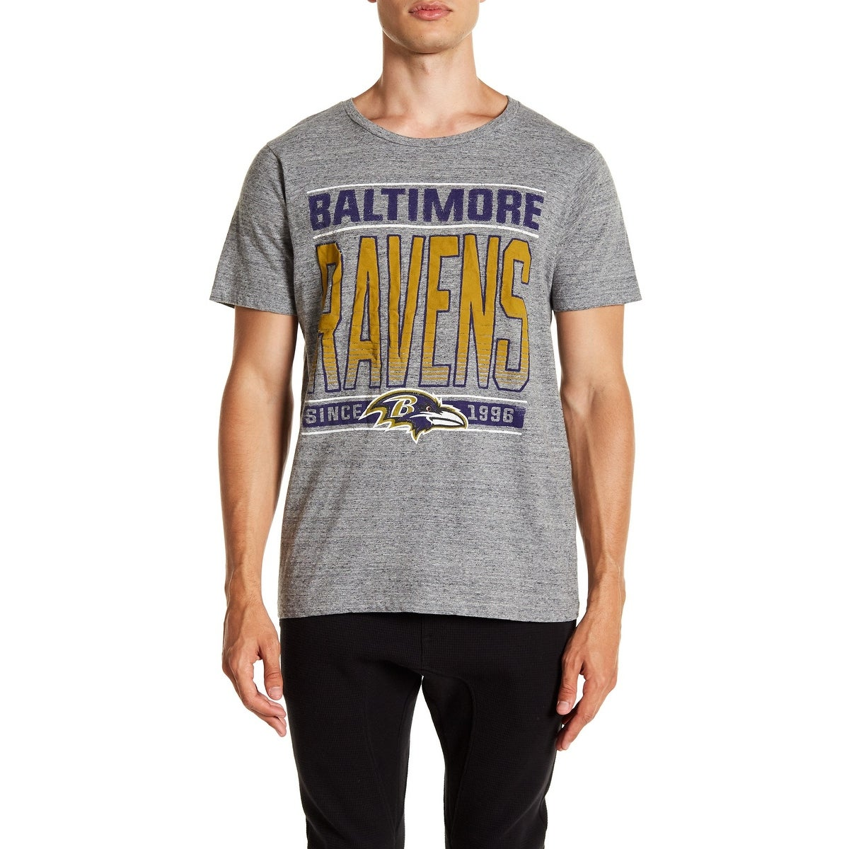 91a4559c Junk Food Mens Gray Large L NFL Baltimore Ravens Touchdown Tee T-Shirt