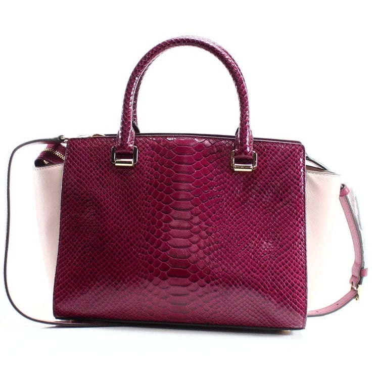shop michael kors new red pink snakeskin embossed selma satchel bag rh overstock com