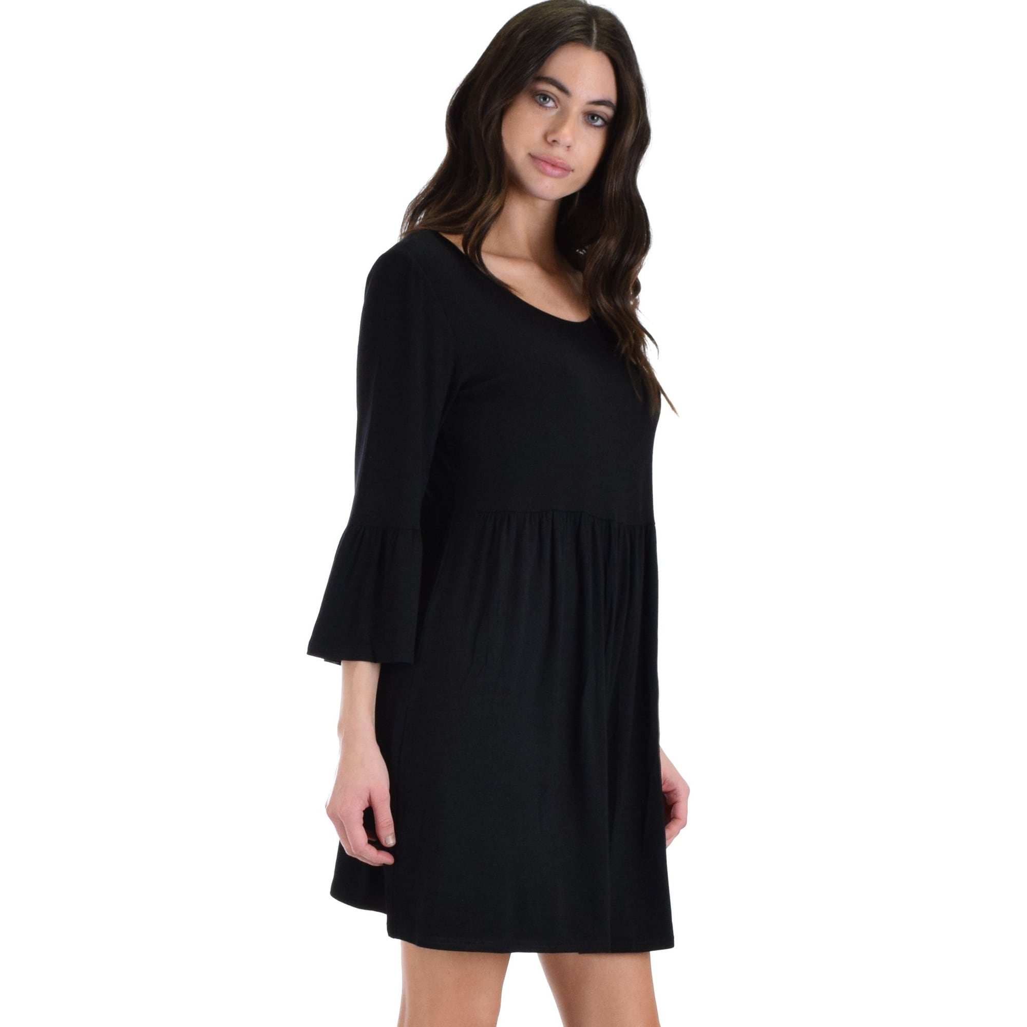 0d8587bc9b4 Shop black 3 4 sleeve dress with back keyhole sl3867 -Black-Small - Free  Shipping On Orders Over  45 - Overstock - 23109695