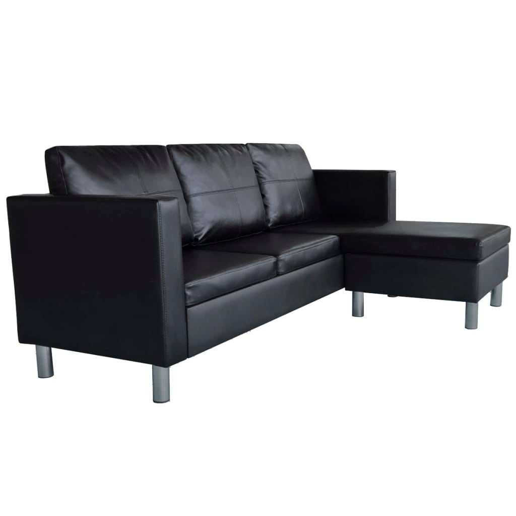 Vidaxl Sectional Sofa 3 Seater Artificial Leather Black Home Couch Seating
