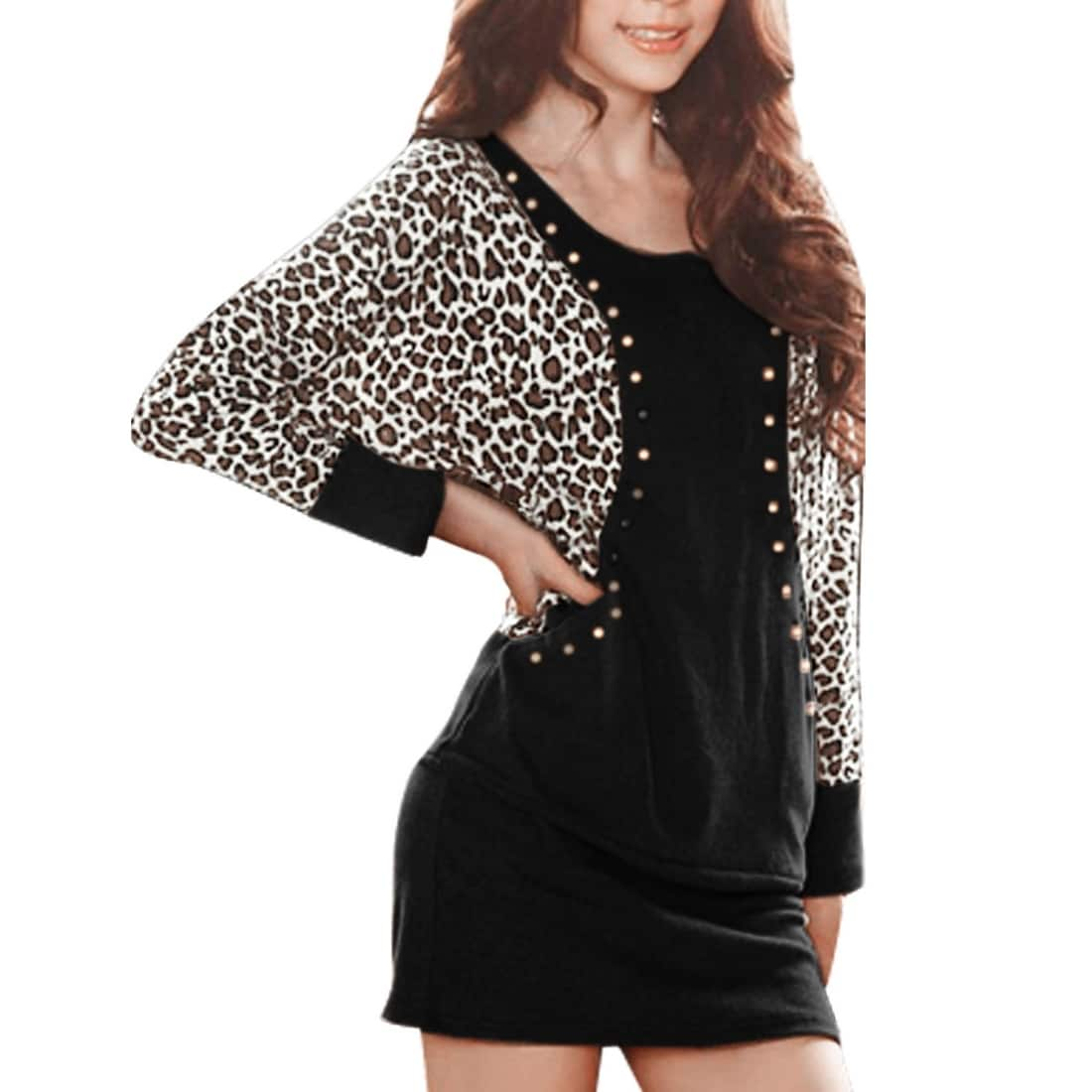62a3d0a7ab853f Shop Allegra K Women Leopard Prints Studded Batwing Sleeves Mini Bodycon  Dress - On Sale - Free Shipping On Orders Over $45 - Overstock - 23580339