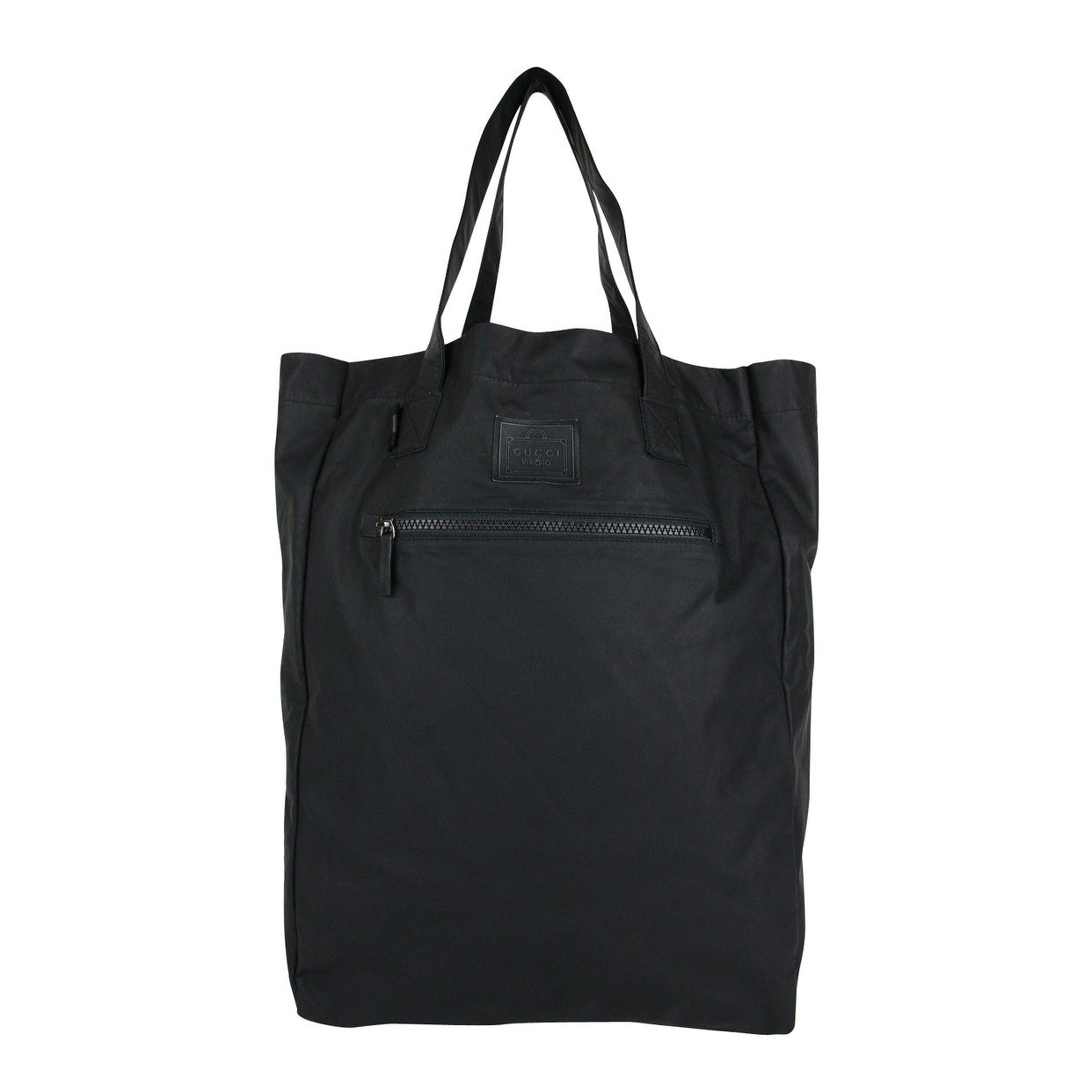 ba1c529bf Shop Gucci Men's Viaggio Collection Black Leather Small Foldable Tote Bag  308877 8615 - Free Shipping Today - Overstock - 27603098