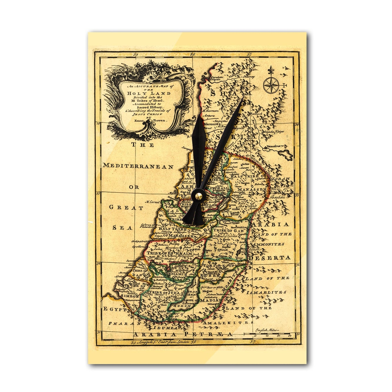 Shop Israel Tribes Palestine - (1767) - Panoramic Map (Acrylic Wall ...