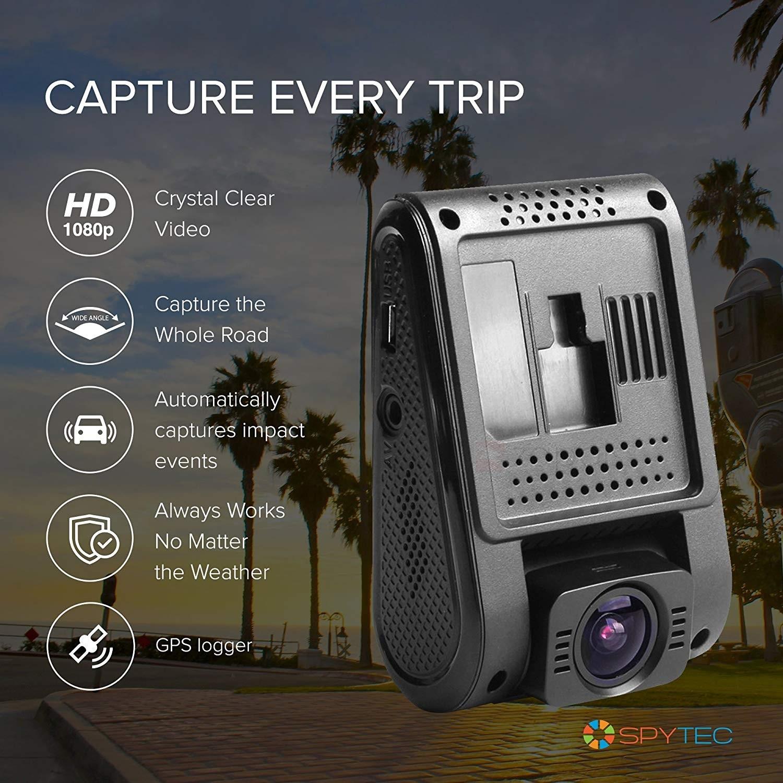 SpyTec A119S 1080P 60fps Car Dash Cam w/ 135-Degree Wide Angle Lens & Mini  USB 10' Hardwire Kit
