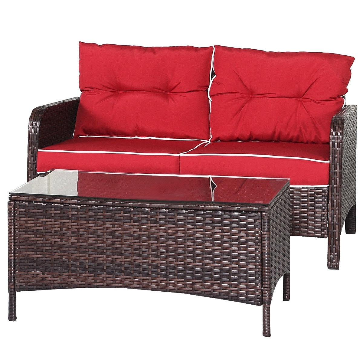Costway 4 Pcs Outdoor Patio Rattan Wicker Loveseat 2 Single Sofas And 1 Tea Table As Pic Free Shipping Today 16637741