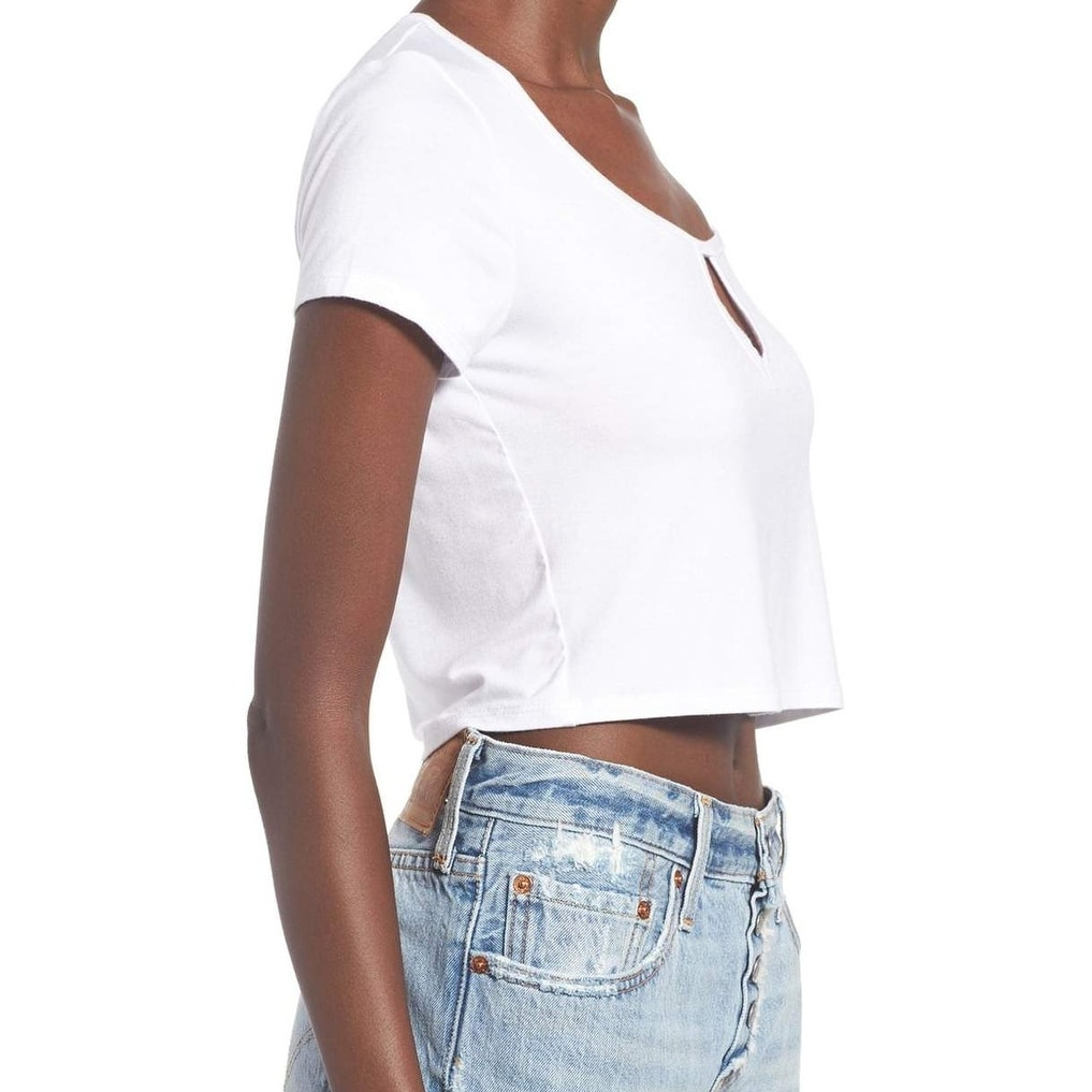 48e7e7b5d31a87 Shop Ten Sixty Sherman NEW White Women s Size Medium M Keyhole Crop Knit Top  - Free Shipping On Orders Over  45 - Overstock - 19450372