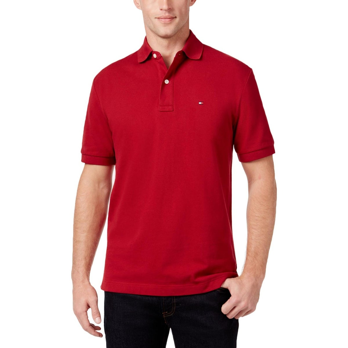 Shop Tommy Hilfiger Mens Polo Shirt Pique Side Slit Free Shipping