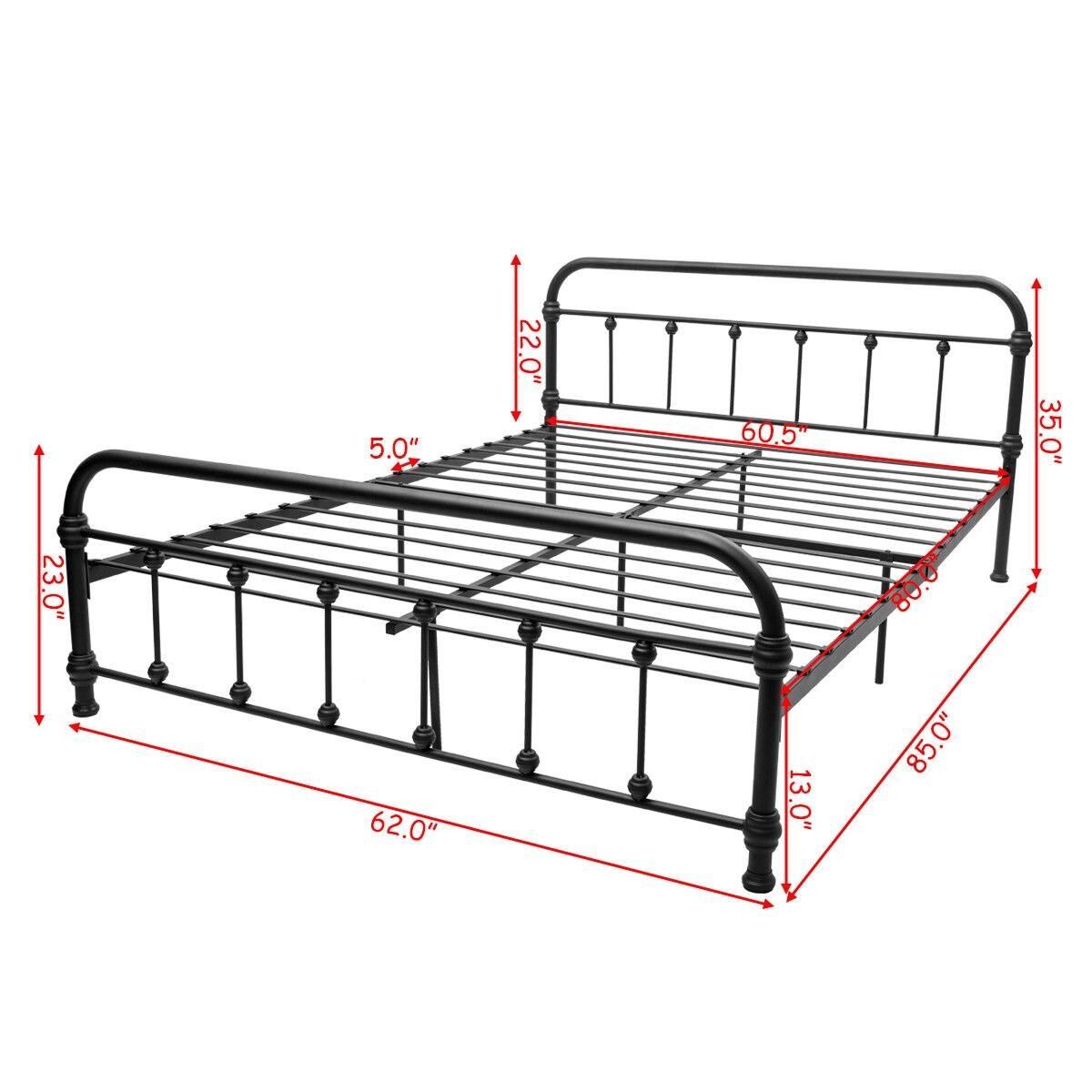 0ee1a717deeb Shop Costway Queen Size Metal Steel Bed Frame W/ Stable Metal Slats  Headboard Footboard Black - Free Shipping Today - Overstock - 20708436