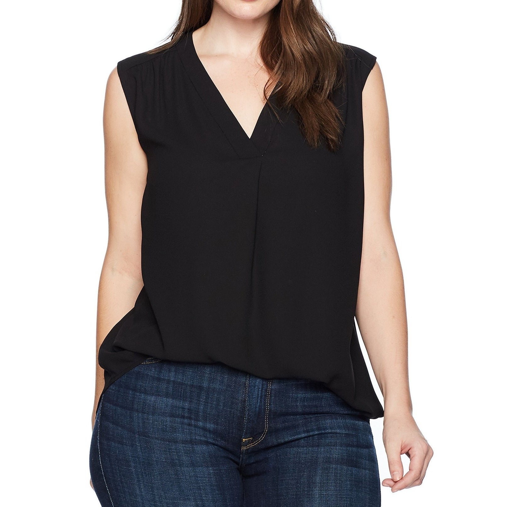 115068e56e9fd8 Shop Nine West Deep Black Women's Size 2X Plus V-Neck Solid Blouse - Free  Shipping On Orders Over $45 - Overstock - 27142264