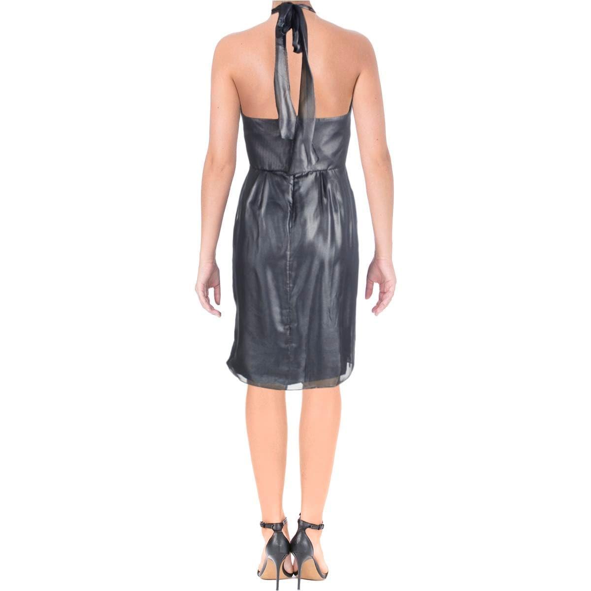 Vera Wang Womens Cocktail Dress Metallic Halter - Free Shipping On ...
