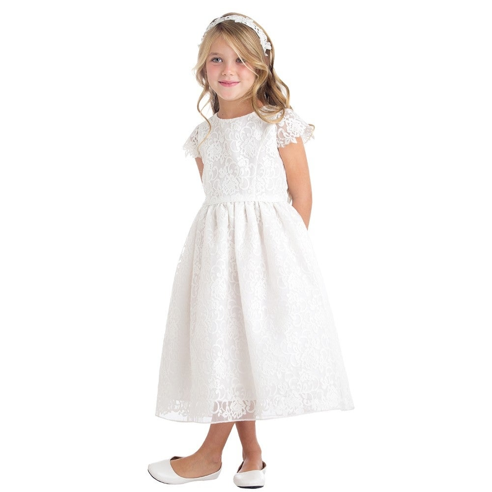Sweet Kids Little Girls Off White Floral Embroidered Flower Girl