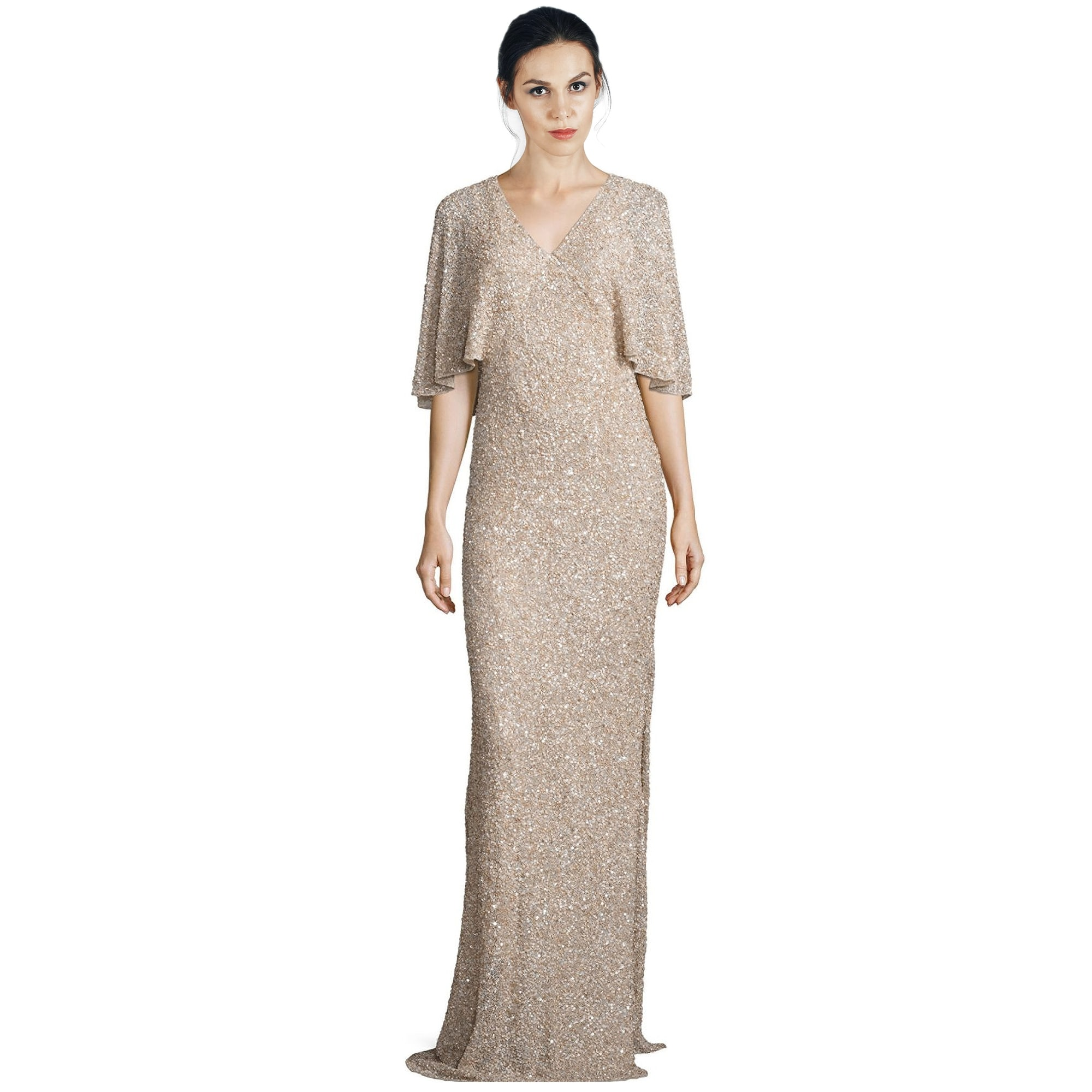 Shop Alice & Olivia Krystina Embellished Cape Sleeve Evening Gown ...