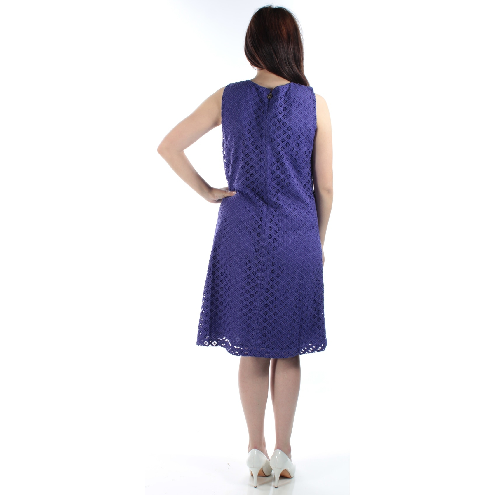 7c7ff7b011651 Shop TOMMY HILFIGER Womens Purple Lace Detail Sleeveless Crew Neck Knee  Length Shift Dress Size  6 - Free Shipping On Orders Over  45 - Overstock -  21305052