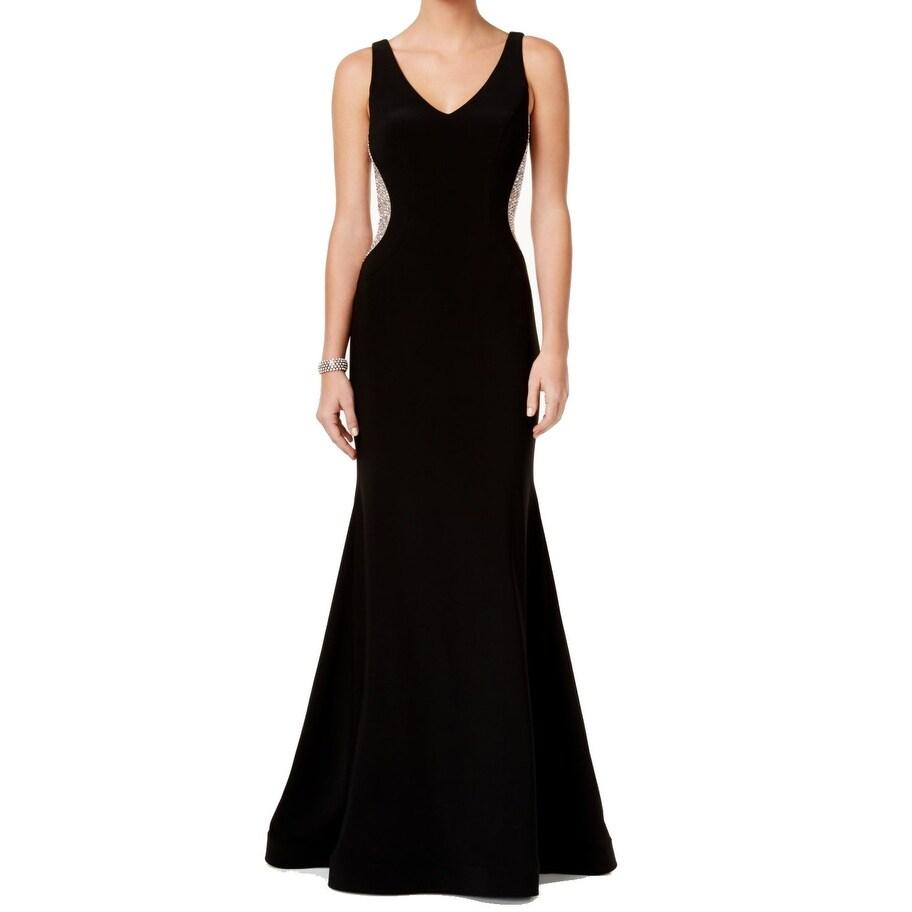 Shop Xscape NEW Black Nude Womens Size 8 Embellished V-Neck Mermaid ...
