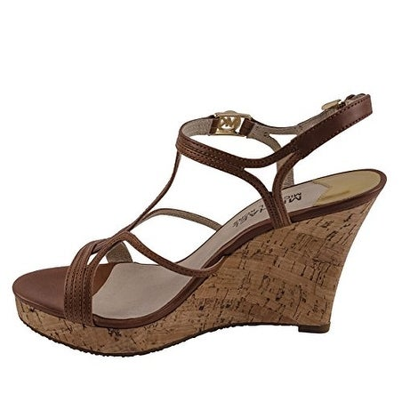 72e6923ee7 Shop MICHAEL Michael Kors Womens Cicely Wedge (Cork) Leather Open Toe  Casual Platf... - Ships To Canada - Overstock.ca - 14526630