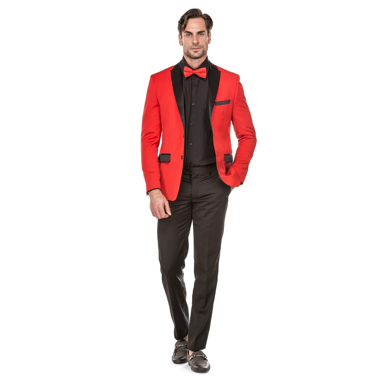 Red Slim Fit Suit 7sIw