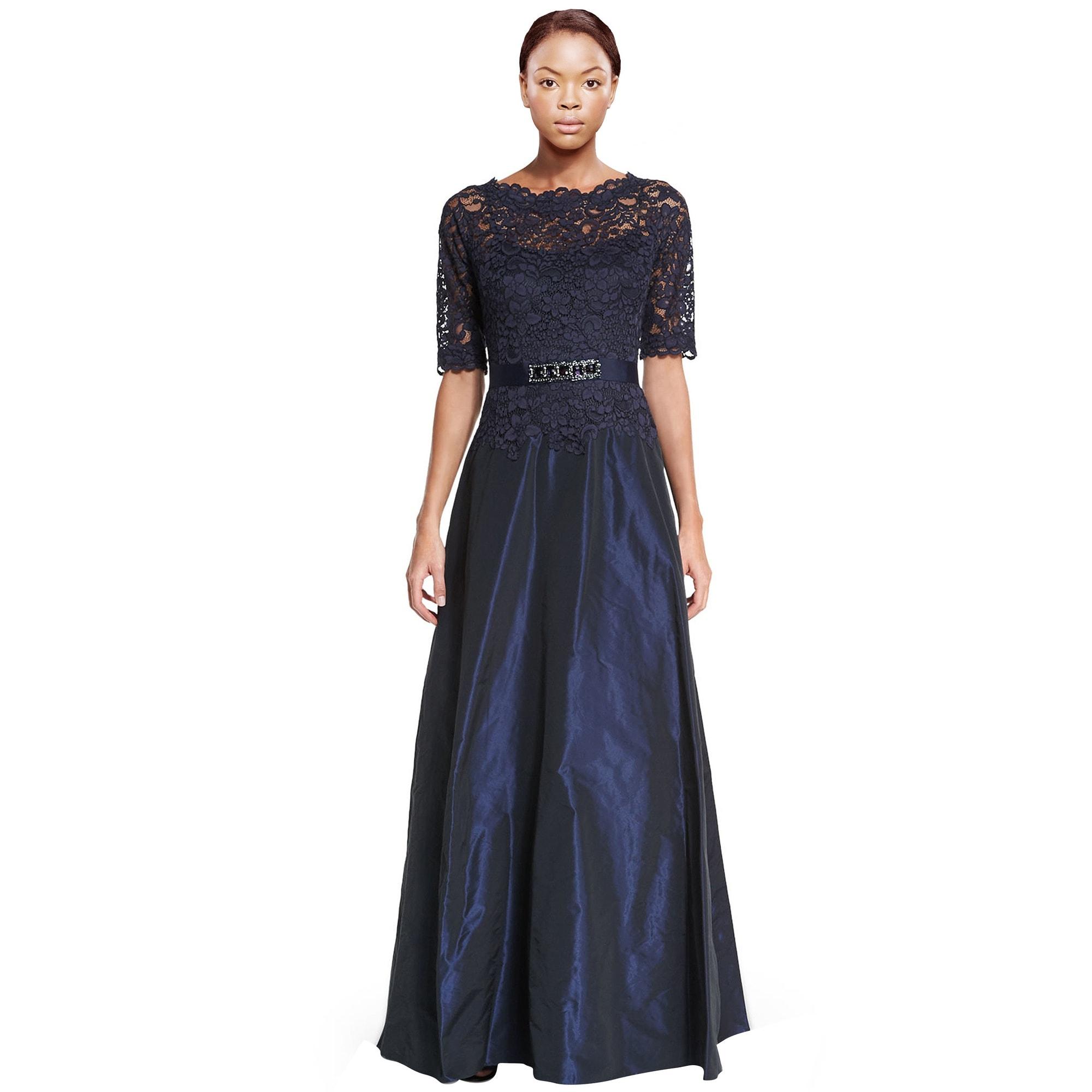 Shop Teri Jon Scalloped Lace Top Taffeta Evening Gown Dress - 6 ...